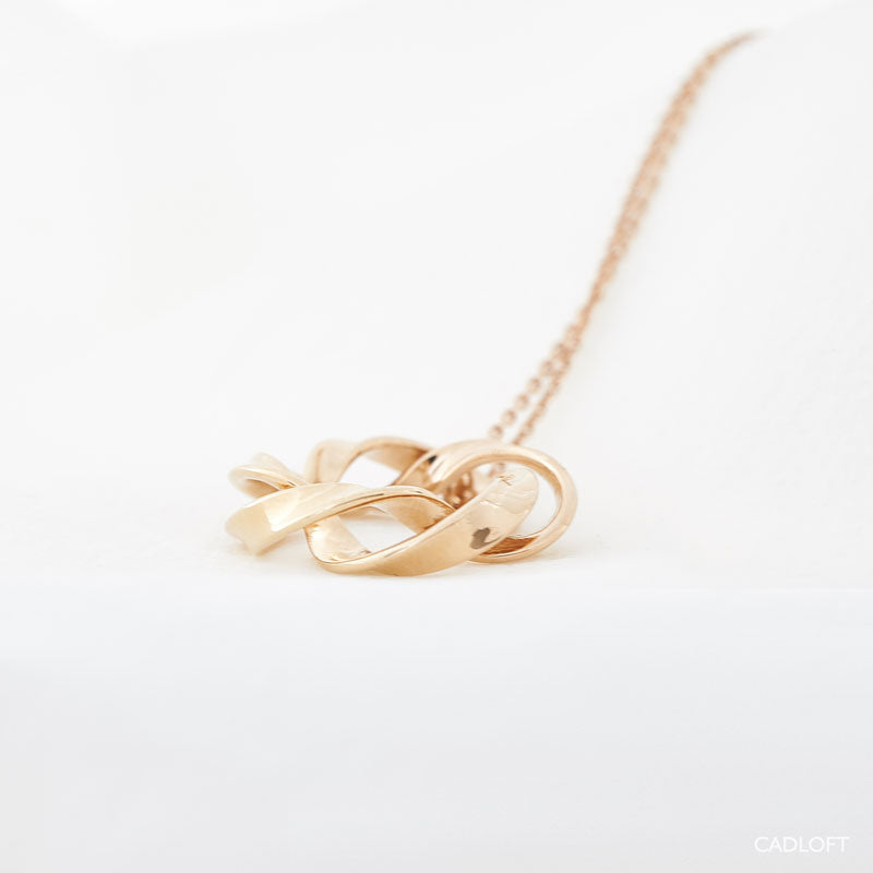 3D printed rose gold jewelry wave pendant