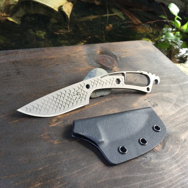 Dirte Knives - Titanium Knife - Scale Pattern TiCK - Back