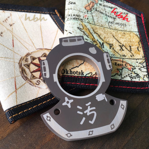 Dirte Knives - Paper Weight - Anodized Dirte Ti Dive with HBH Map or Treasure Map Pocket Caddy