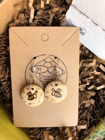 Bumble Bee wood burned earrings True North Subscription Boxes