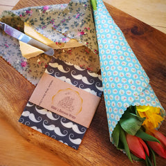 Fresh cut flowers wrapped in a beeswax wrap