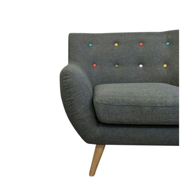 Ebba Armchair - Grey (with multicolor buttons) | GFURN