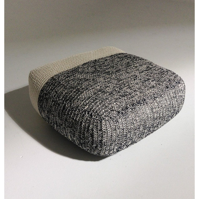 Handmade Knitted Floor Cushion | Mottled Grey & Cream | GFURN
