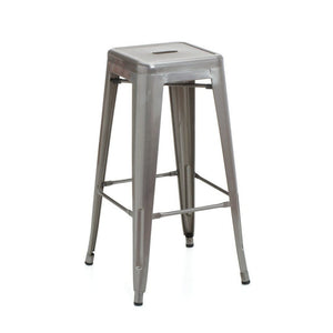 Tolix Style Bar Stool 76cm - Brushed Transparent - Reproduction | GFURN