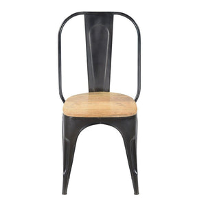 Reproduction of Xavier Pauchard Tolix Style Dining Chair - Iron with Wooden Seat | GFURN