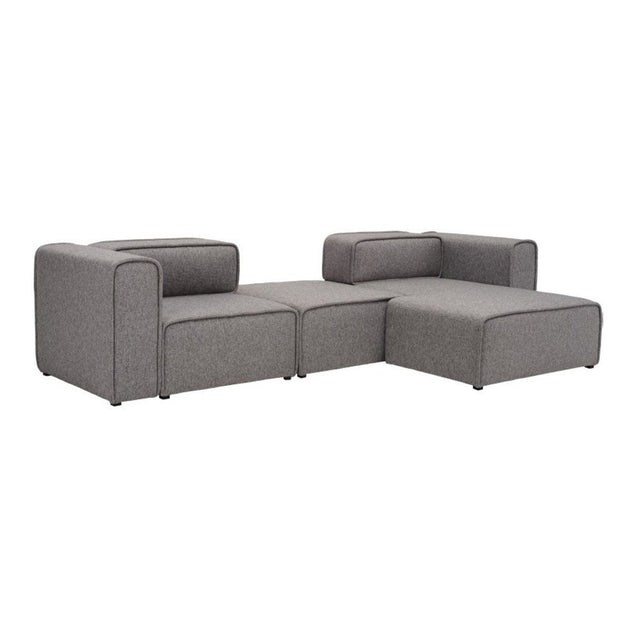 L-Shaped 3 Seater Left Sectional Chaise Modern Sofa - Björn - Pebble | GFURN