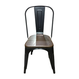 Tolix Style Dining Chair Black - Light Walnut Wooden Seat - Reproduction | GFURN