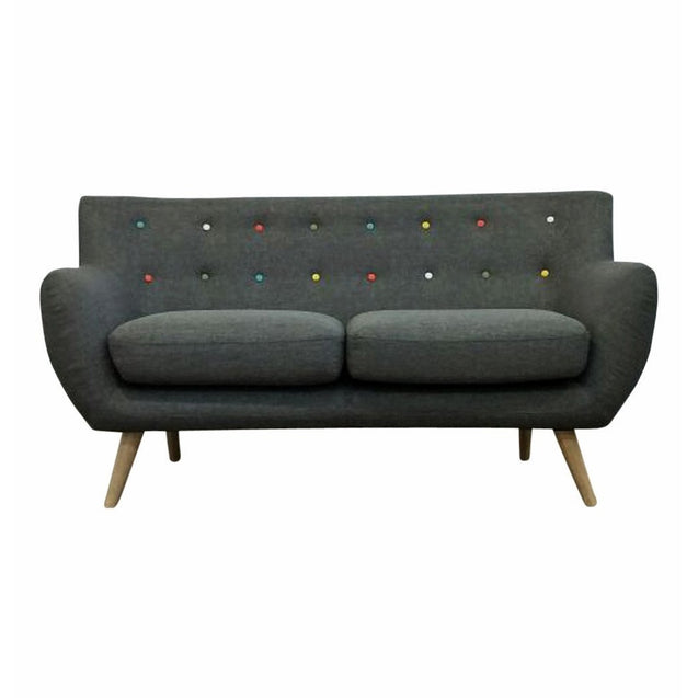 Ebba 2-Seater Sofa - Grey (with multicolor buttons) | GFURN