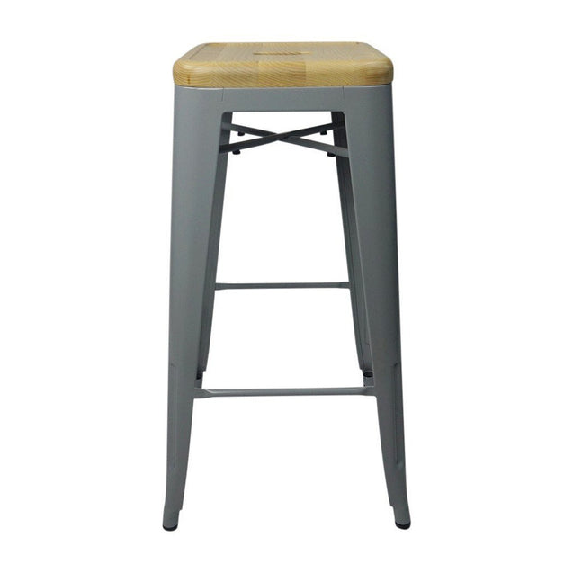 Tolix Style Bar Stool Silver - Natural Wooden Seat - Reproduction | GFURN