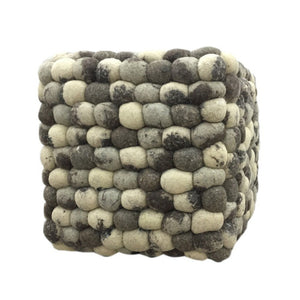 Handmade Woolen Pebble Pouf | Natural | GFURN