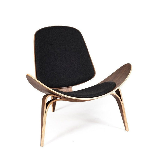 CH07 Shell Lounge Chair - Walnut - Black Fabric - Reproduction | GFURN
