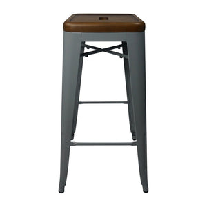 Tolix Style Bar Stool Silver - Light Walnut Wooden Seat - Reproduction | GFURN