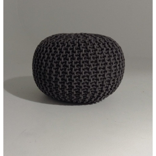 Handmade Round Knitted Pouf | Charcoal Gray | 50x35cm | GFURN