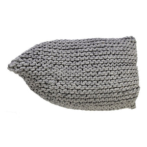 Handmade Knitted Woolen Beanbag | Natural Grey | GFURN