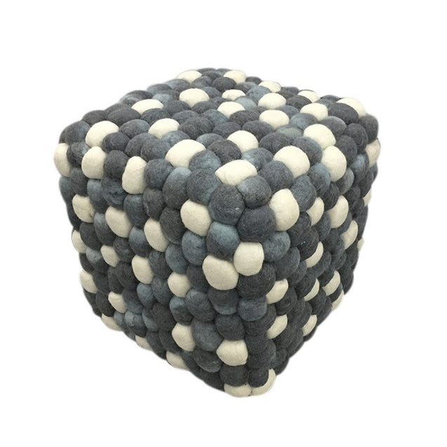 Handmade Woolen Pebble Pouf | Grey Blue | GFURN