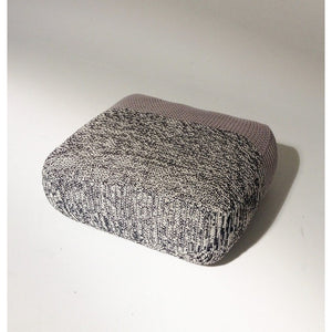 Handmade Knitted Floor Cushion | Mottled Grey & Ashes Of Roses | GFURN