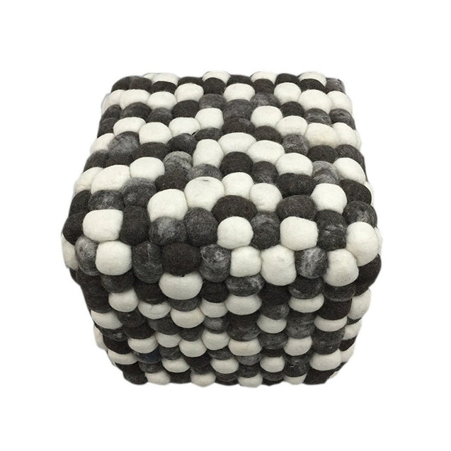 Handmade Woolen Pebble Pouf | Grey Dark | GFURN