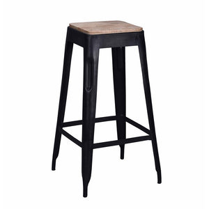 Tolix Style Bar Stool Black - Iron with Wooden Seat - Reproduction | GFURN