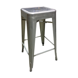 Tolix Style Bar Stool 76cm - Galvanized - Reproduction | GFURN