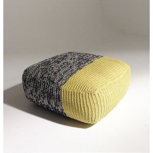 Handmade Knitted Floor Cushion | Mottled Grey & Custard | GFURN