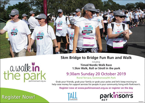 JOIN US - REGISTER NOW! Walk, Run or Nordic Walk for Parkinson's ACT. Sunday 20th October 2019