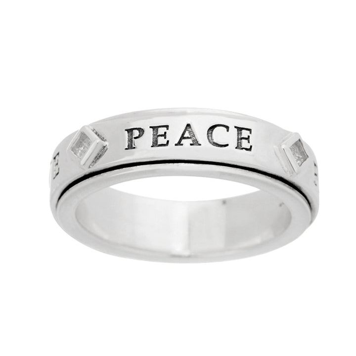 Sterling Silver White Topaz Revolving Prayer Ring | Lavaggi Jewelry