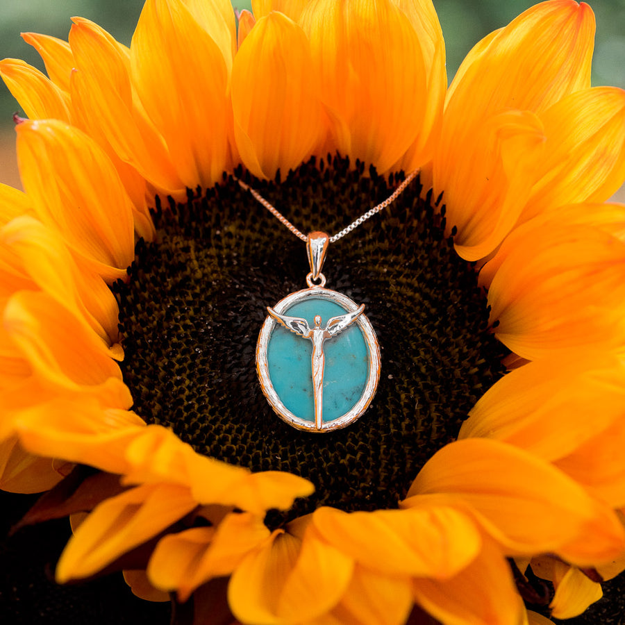 Angel Turquoise Cabachon Necklace - Lavaggi Fine Jewelry