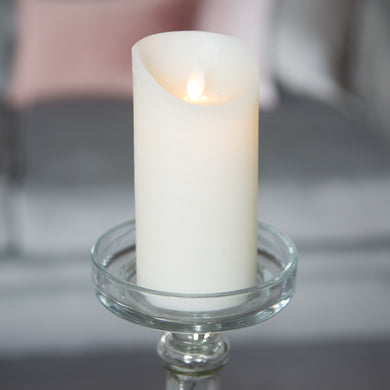 LED Flickering Flame Real Wax Cream Candle 3x6 Inches