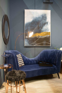 Blue & Gold Abstract Wall Art 143cm