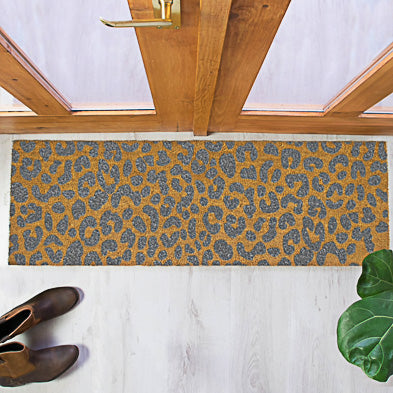 Grey Leopard Print Patio Doormat 120x40cm