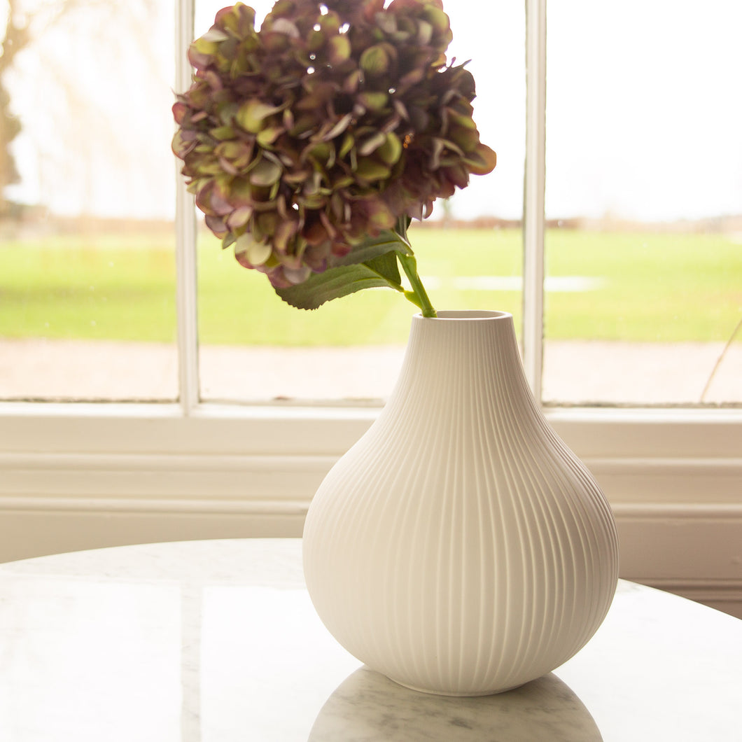 Large White Ceramic Vase 21cm