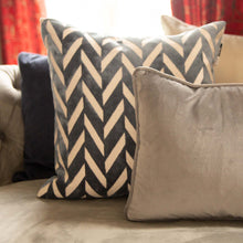 Load image into Gallery viewer, Blue Velour Chevron Cushion 56x56cm