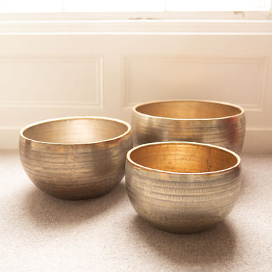 3 Brushed Gold Planters