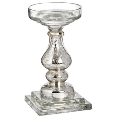 Antique Silver Glass Pillar Candle Holder 24cm