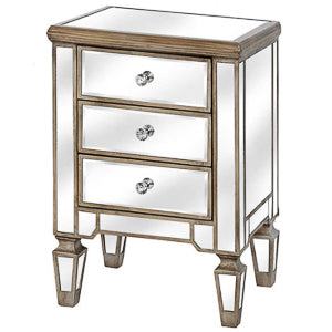 Glam Collection Three Drawer Bedside Table
