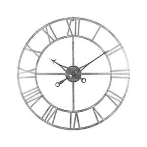 Large Silver 82cm Wall Clock