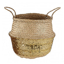 Load image into Gallery viewer, Gold Sequin Small Basket 28cm