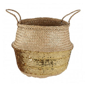 Gold Sequin Small Basket 28cm