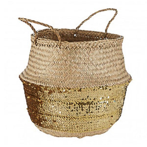 Gold Sequin Large Basket 37cm