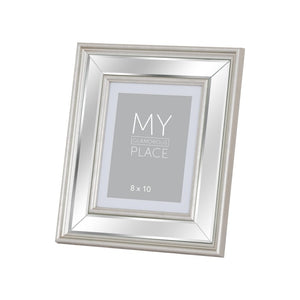 Silver Bevelled Mirror Photo Frame 8x10