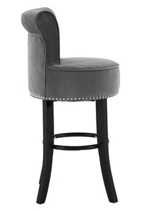 Raines Grey Velvet Bar Chair