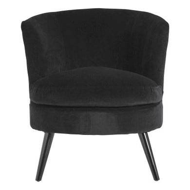 Round Plush Black Cotton Velvet Armchair