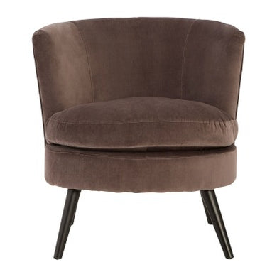 Round Grey Velvet Plush Armchair