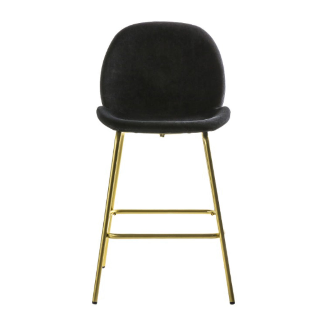 2 Black Velvet Bar Stools