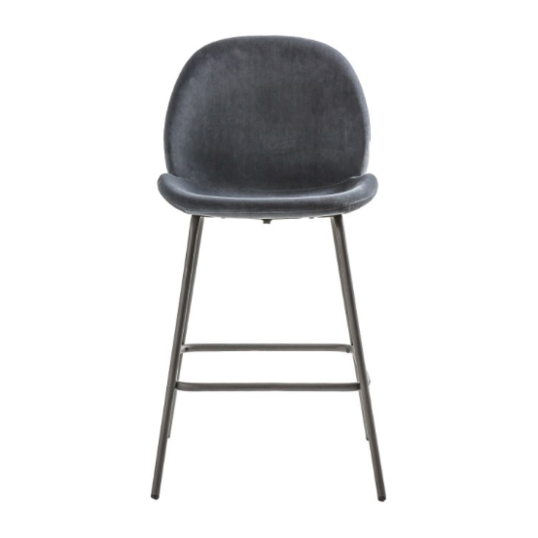 2 Dark Grey Velvet Bar Stools