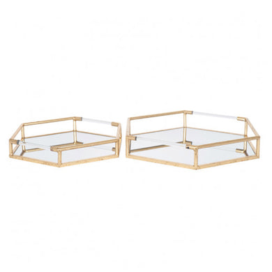 2 Gold Mirror Trays