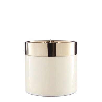 Small Glossy White and Gold Wax Filled Candle