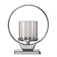 Load image into Gallery viewer, Silver Round Candle Holder 28cm