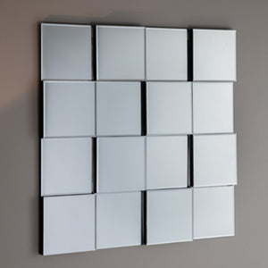 Contemporary, bevelled, block mirror panels set on a black base.