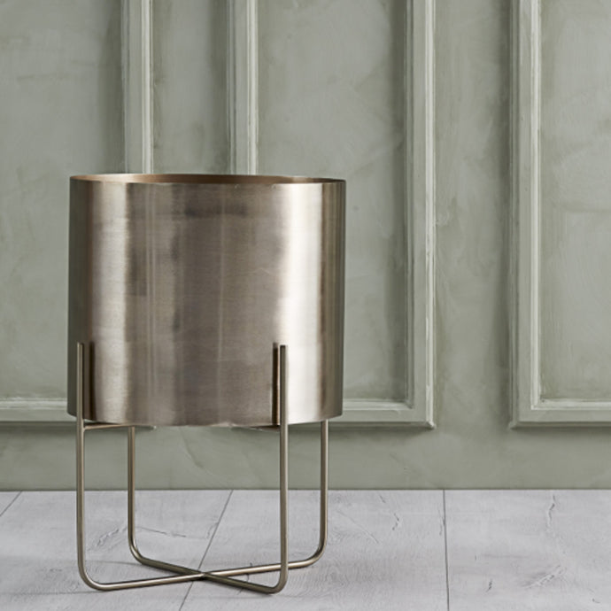 Extra Large Gold Planter on stand